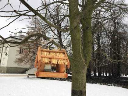 The Royal Lazienki Museum and Park in Warsaw - attractions for kids - bird feeder in winter time