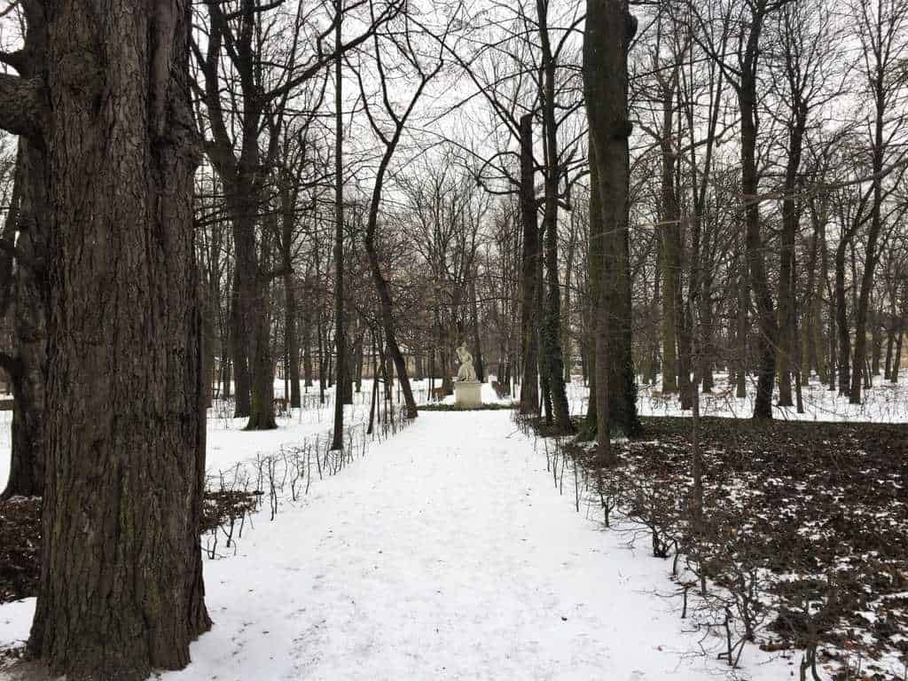 The Royal Lazienki Museum and Park in Warsaw - attractions for kids - park in winter time