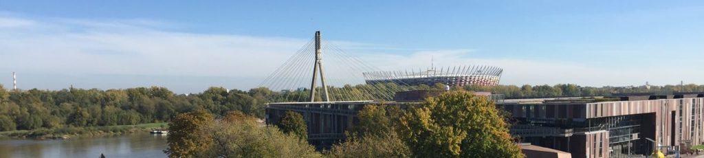 Warsaw, Most Swietkorzyski bridge, Centrum Kopernika for kids, Stadion narodowy, Vistula river