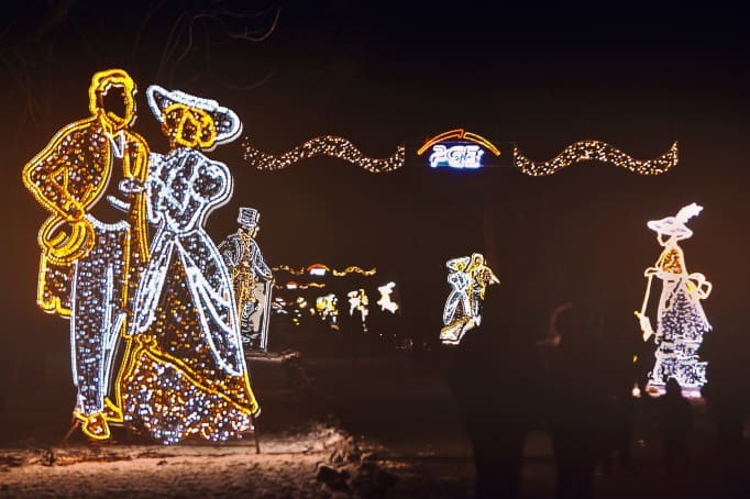 Winter illuminations in Warsaw Lazienki Garden