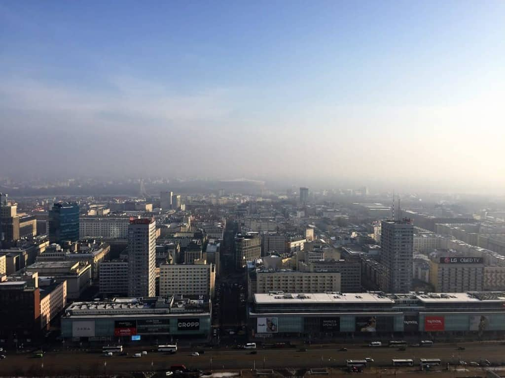 Palace of Culture and Science in Warsaw, Poland - view of Warsaw from the viewing platform on the 30th floor - smog over Warsaw