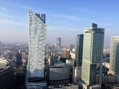 Palace of Culture and Science in Warsaw, Poland - view of Warsaw from the viewing platform on the 30th floor