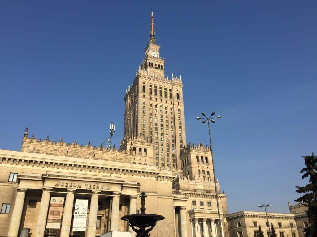 Entrance to the Museum of Technology and Industry in Warsaw in the Palace of Culture and Science
