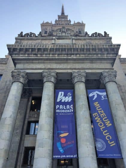Entrance to the Natural History Museum (Museum of Evolution) in Warsaw in the Palace of Culture and Science - attractions for kids