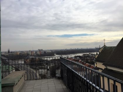 Viewing platform in the Old Town in Warsaw (St. Anne's church bell tower) - Vistula river