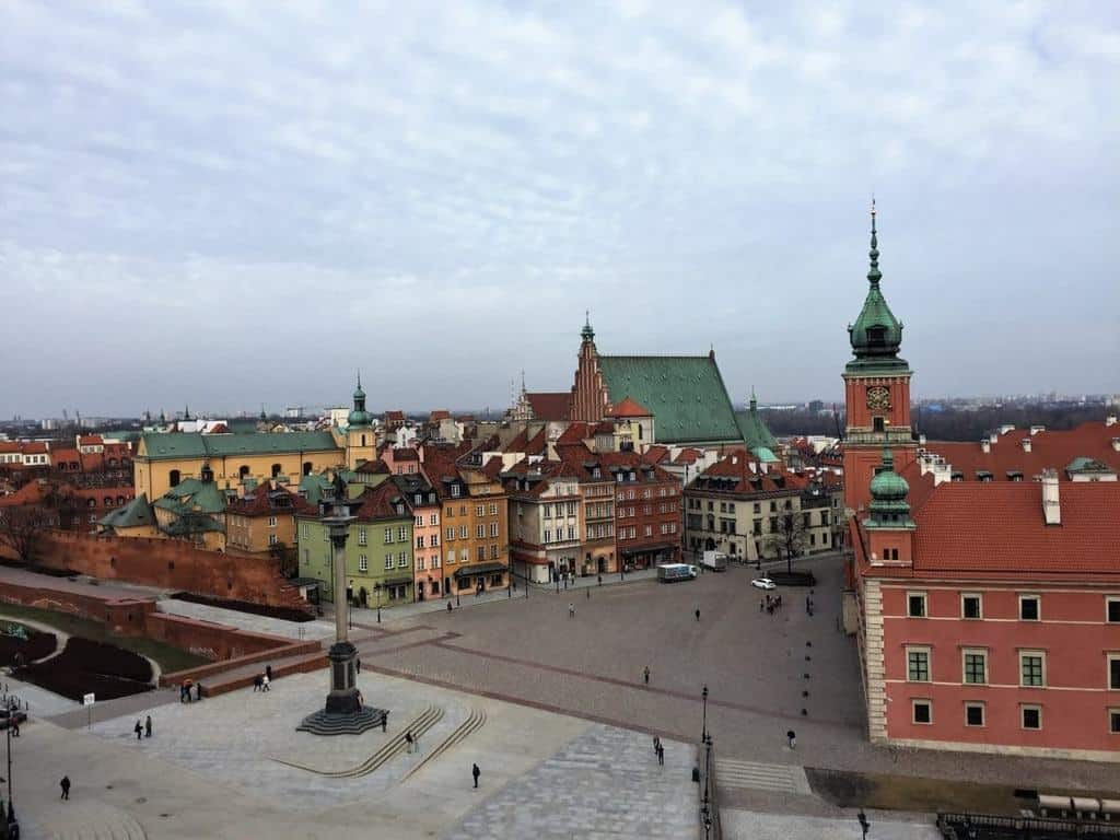 Viewing platform in the Old Town in Warsaw (St. Anne's church bell tower) - Castle Square