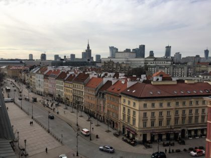 Viewing platform in the Old Town in Warsaw (St. Anne's church bell tower) - old town and Palace of Culture