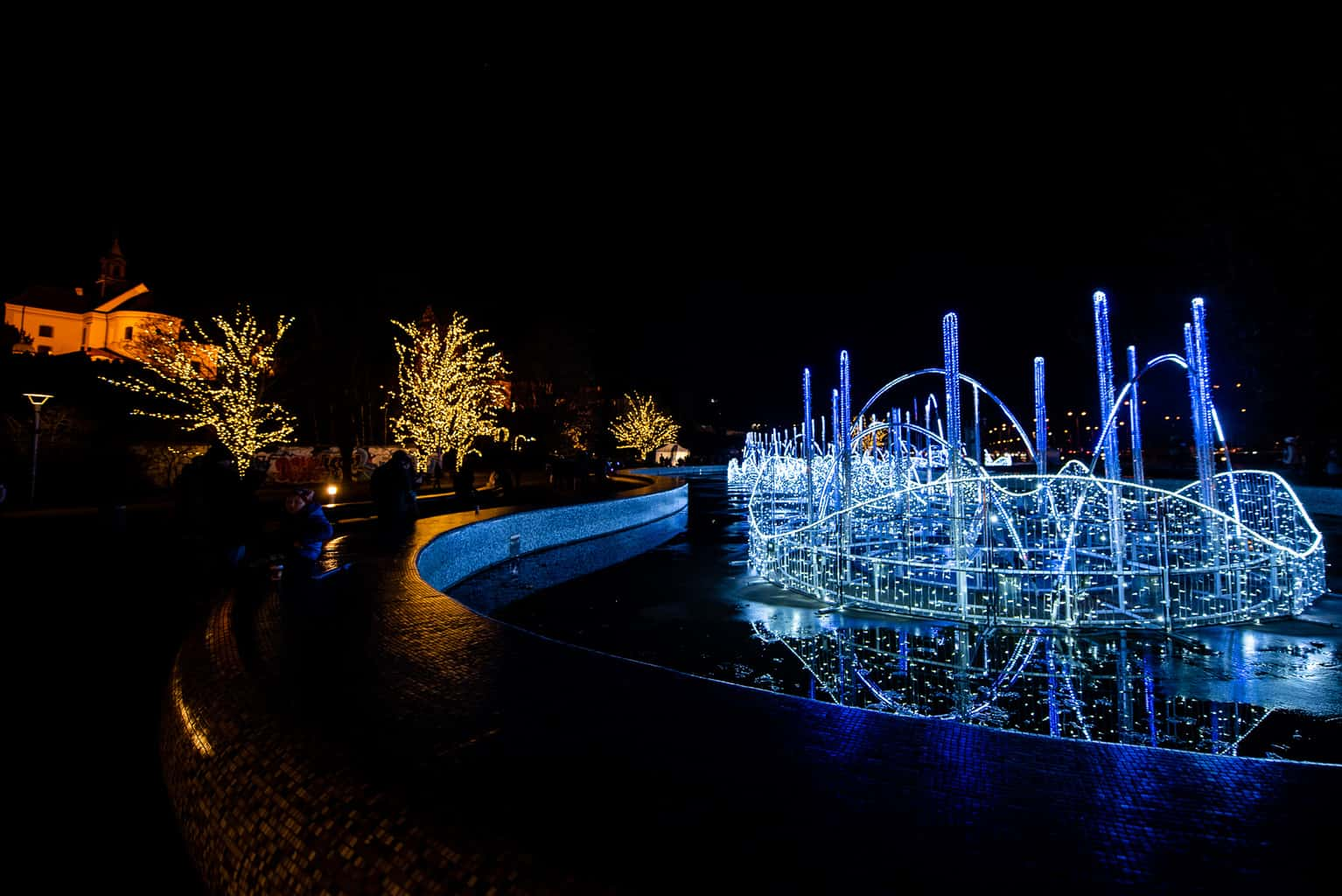 Multimedia Fountain Park in Warsaw Poland