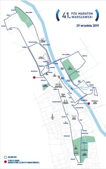 Warsaw marathon map