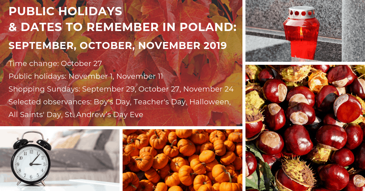 Public holidays, observances, shopping Sundays in Poland in September, October, and November 2019