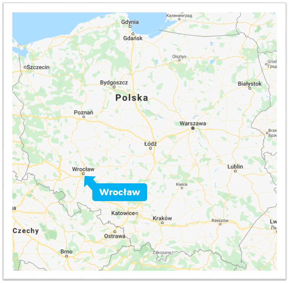 The city of Wrocław on a map of Poland