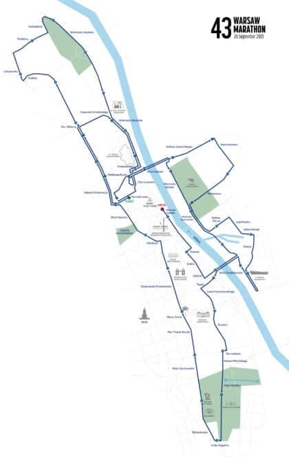 Warsaw Marathon Map